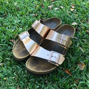Birkenstock Rose Gold Arizona Sandals